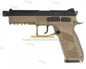 KJ Works CZ P-09 Duty (ASG Licensed) with 14mm CCW Thread Barrel- Gas or Co2  Version (TAN)